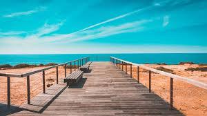 free stock photo of beach bench boardwalk
