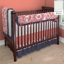 Navy And Coral Crib Bedding Coral And Navy Suzani Nursery Idea Customizable Crib Bedding Set