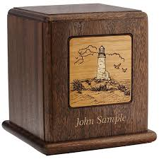 wooden urns for ashes lighthouse wood cremation urn for ashes