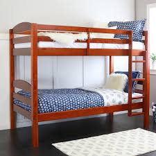 amazon com walker edison solid wood twin bunk bed cherry