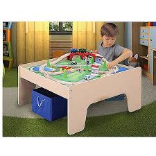 activity table with storage wooden activity table with 45 piece train set storage bin only at