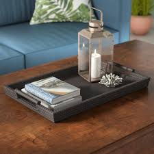 leather tray for coffee table beachcrest home yara leather tray in brown reviews wayfair