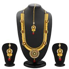 long necklace set images Sukkhi glimmery gold plated temple jewellery coin long necklace jpg