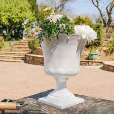 large classical white crown urn planter