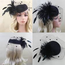vintage black flowers party cocktail feather hair clip mini top