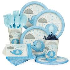 Blue Baby Shower Decorations Umbrellaphants Blue Baby Shower Standard Tableware Kit Serves 8
