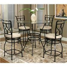 Glass Bar Table And Stools 3 Piece Glass Top Metal Pub Set With X Back Swivel Stools By
