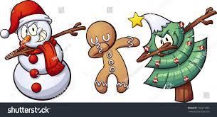 christmas dabbing characters vector clip art stock vector