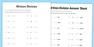 year 6 written division 2 decimal places activity sheet year