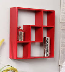 wall shelves pepperfry buy multi purpose wall shelf in red finish by home sparkle online