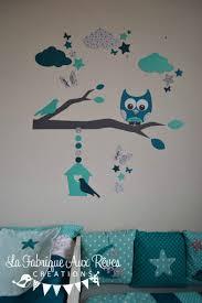 chambre bebe turquoise stickers hibou chouette décoration chambre enfant bébé garçon