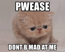 Dont Be Mad Meme - pwease dont b mad at me super sad cat meme generator