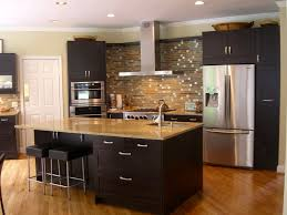 interesting small kitchen decoration using black glass tile
