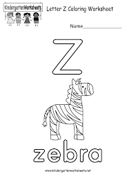 letter z coloring worksheet free kindergarten english worksheet