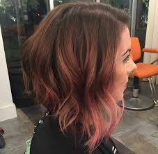 red brown long angled bobs long angled bob with pink balayage hair color and cuts