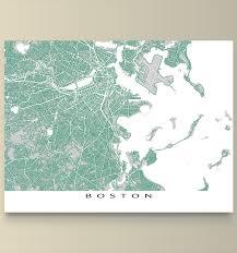 Boston Ma Map by Boston Map Print Massachusetts Usa Roads Products Boston