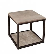 bouts de canapé bout de canapé industriel métal et bois 49x49x49 lali pier import