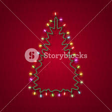 silhouette of tree formed garland lights royalty free