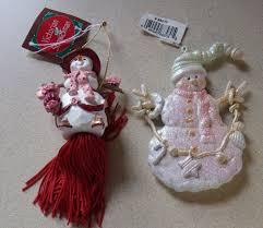 lot of 2 snowman victorian christmas ornament decoration 4