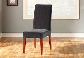 Black Dining Chair Covers Sure Fit Stretch Pinstripe Short Dining Chair Cover
