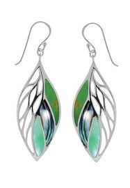 boma earrings boma sterling silver green turquoise abalone green