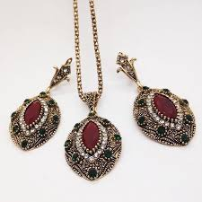vintage necklace sets images Women vintage jewelry set antique gold color red wine necklace jpg