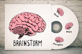 close up of cd cover with creative human brain sketch on brick