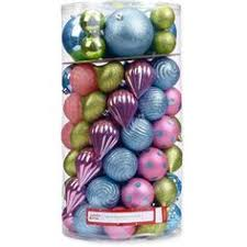various sized teal green purple shatterproof ornaments set of