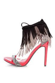 black fringe ankle strap sandal heels faux suede