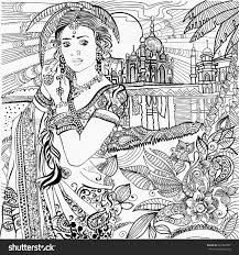 indian woman coloring page zentangles colouring