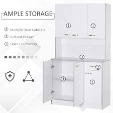 homcom 71 wood kitchen pantry storage cabinet homcom 71 freestanding kitchen buffet hutch cupboard with 6 doors 3 adjustable shelves and 1 drawer white