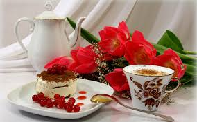 flower still life cake berries white sweet por coffee cup flowers