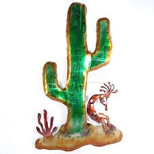 26in saguaro cactus kokopelli wall art orange and green