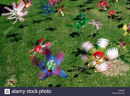 recycled plastic bottles made into spinning toys stock photo