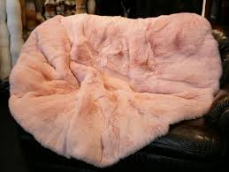 Furry Blanket Rabbit Fur Blanket Or Carpet In Pink Master Furrier Furs