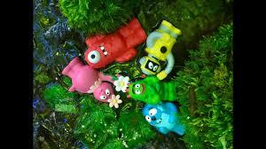 swimming in the creek with yo gabba gabba toys