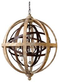 Crystal Sphere Chandelier Iron And Wood Open Work Globe With Crystal Accents Contemporary