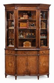 3 Door Display Cabinet Walnut Display Cabinet With 3 Doors And Lighting