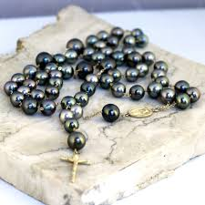pearl rosary basic layout 14k gold black pearl rosary necklace