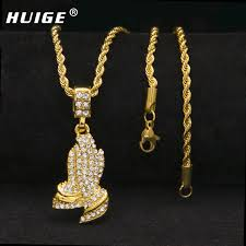praying necklace hip hop fully iced out rhinestone praying pendant necklace