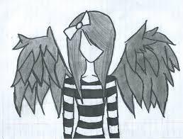 drawn sketch dark angel pencil and in color drawn sketch dark angel