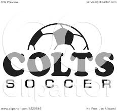 clipart of a black and white ball and colts soccer team text
