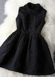 luxury faux pearl decoration collar tank dress black on luulla