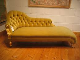 Vintage Chaise Lounge Yellow Color Antique Victorian Chaise Lounge Sofa Bed With Wooden
