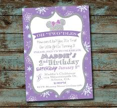 oh toodles minnie mouse 2nd birthday party invitation winter