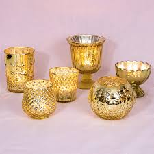 glam mercury glass candle holders set of 6 gold luna bazaar