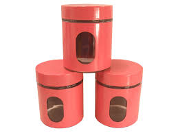 Red Kitchen Canisters by Bn Set Of 3 Pink Kitchen Canisters Coffee Tea Sugar