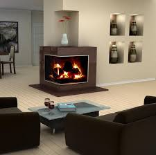 interior modern interior design with corner glass fireplace and