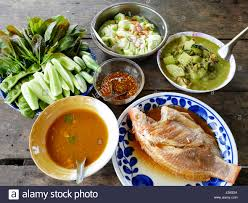 traditional lunch cuisine food set of southern thai style and