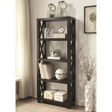 Coaster Curio Cabinet Coaster 801353 Humfrye Bookcase With Four Shelves Cappuccino Finish